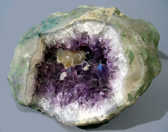 Botryoidal Fluorite on Amethyst in Geode, Mahodari, Nasik District, Maharashtra, India