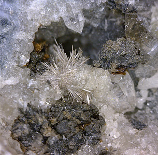 Lorenzenite with Narsarsukite and Unknown, Poudrette Quarry, Mont Saint-Hilaire, Rouville RCM, Montérégie, Québec, Canada