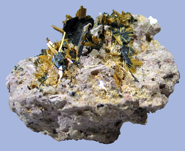 Rutile Epitaxial on Hematite with Albite,  Novo Horizonte, Bahia, Northeast Region, Brazil
